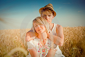Image Of Young Man And Woman On Wheat Field Stock Image - Image: 18595461