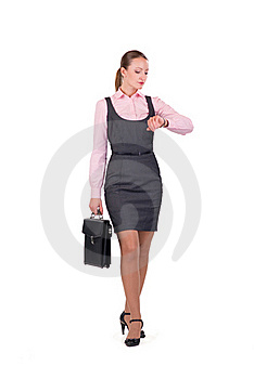 Young Businesswoman With Briefcase Stock Photos - Image: 18595733