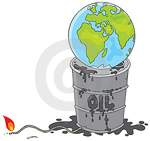 Earth On An Oil Barrel With A Fuse Royalty Free Stock Photos - Image: 18597438
