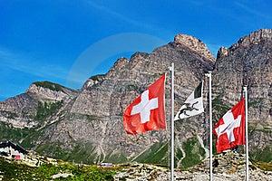 Swiss Flags On San Bernardino Pass Royalty Free Stock Photography - Image: 18598307