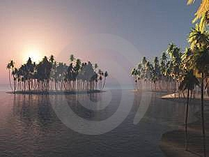 Island In The Sunrise Royalty Free Stock Images - Image: 18598359