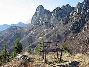 Bench Isolated On The Top Of A Mountain Stock Images - Image: 18598954