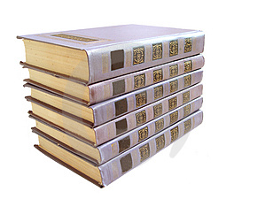 Stack Of Violet Books With Numbers Over White Background Stock Photos - Image: 1862653