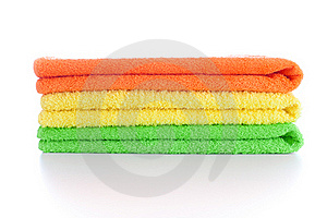 Stack Of Fresh Colorful Towels Isolated Royalty Free Stock Photo - Image: 18608265