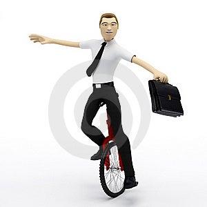 Businessman Balancing On Unicycle. Conceptual Busi Stock Photo - Image: 18609540