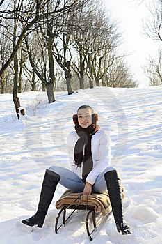 Girl Having Fun On Sledge Stock Image - Image: 18612941