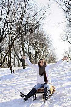 Teen Having Fun On Sledge Royalty Free Stock Photography - Image: 18612987