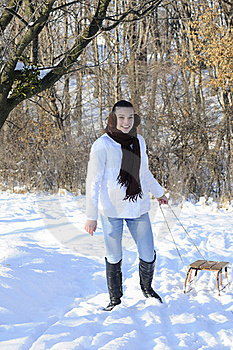 Teen Carrying Sledge Stock Photos - Image: 18613103
