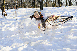 Girl Having Accident On Sledge Stock Images - Image: 18613204