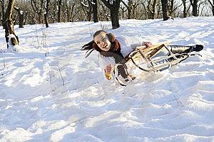 Girl Having Accident On Sledge Stock Images - Image: 18613204