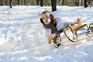 Woman Having Accident On Sledge Stock Photography - Image: 18613222