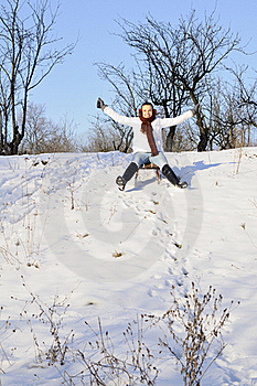 Happy Girl Relaxing In Winter Royalty Free Stock Photo - Image: 18613615