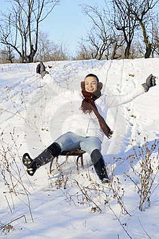 Joyful Female Relaxing In Winter Royalty Free Stock Photo - Image: 18613665