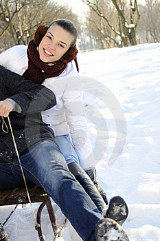 People Having Fun On Sledge Royalty Free Stock Image - Image: 18613736