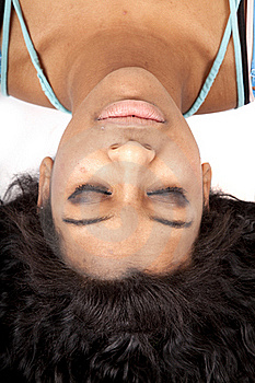 Woman Upside Down Hair Out Sleep Royalty Free Stock Photos - Image: 18614588