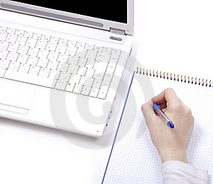 Business Notebook With Laptop And Pen In Hand. Royalty Free Stock Images - Image: 18615259