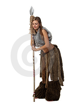 Savage Girl With A Spear Sleep Royalty Free Stock Photography - Image: 18618397