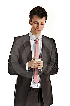Man Writing Message On Cellphone Stock Photos - Image: 18630773