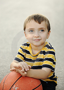 Adorable Child With  The Basketball Stock Photography - Image: 18634852