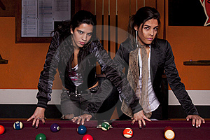 Two Girls Next To A Snooker Table Stock Images - Image: 18637844