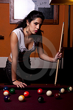 Girl On A Snooker Table Royalty Free Stock Photography - Image: 18638197