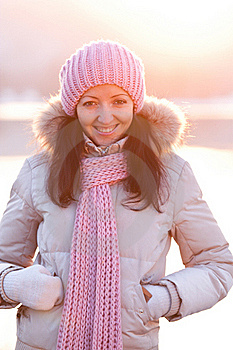 Positive Smiling Girl In Winter Clothes Royalty Free Stock Photo - Image: 18641725