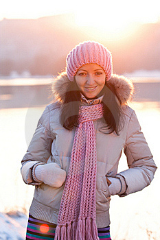 Positive Smiling Girl In Winter Clothes Stock Photo - Image: 18641750