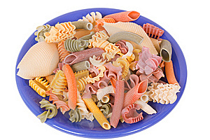 Dry Color Italien Pasta On Blue Plate Royalty Free Stock Photography - Image: 18644027