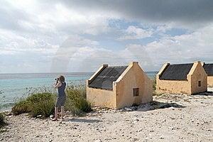 Tourist At Yellow Slave Huts - Bonaire Stock Photos - Image: 18647143