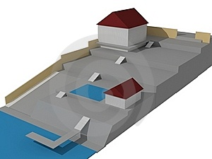 The House 3D Image On The Plan Stock Photography - Image: 18647802