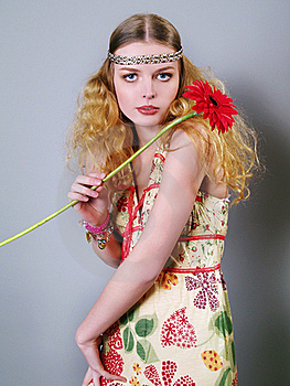 Young Woman With Long Hair And Flowers Stock Photography - Image: 18648822