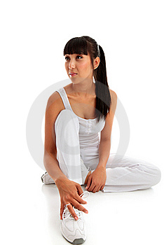 Woman Sitting Wearing Fitness Clothing. Stock Photos - Image: 18650493