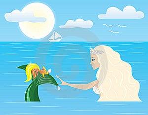 Mermaid And Goldfish Stock Photography - Image: 18660082