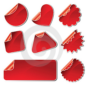 Set Of Red Stickers Royalty Free Stock Photography - Image: 18660647