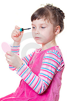 Little Girl With Mascara Royalty Free Stock Images - Image: 18661809