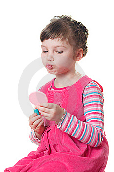 Little Girl With Lipstick Royalty Free Stock Images - Image: 18661869