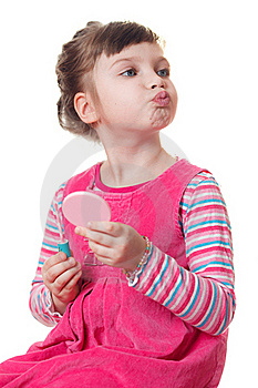 Little Girl With Lipstick Stock Image - Image: 18661881