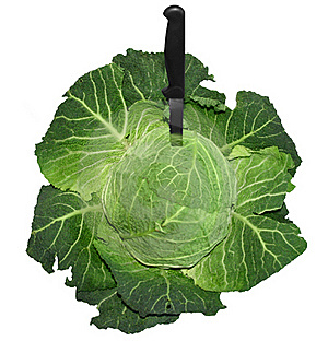 Savoy Cabbage With A Knife Royalty Free Stock Image - Image: 18662246