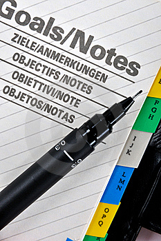 Goals And Note Page With Pen Stock Photos - Image: 18664593