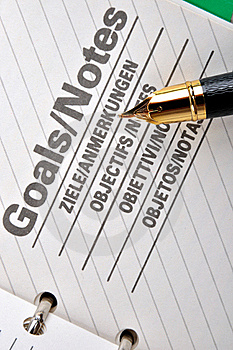 Goals Page And A Fountain Pen Royalty Free Stock Photo - Image: 18664595