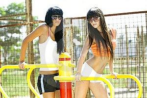 Girls On Sport Playground Stock Image - Image: 18674721