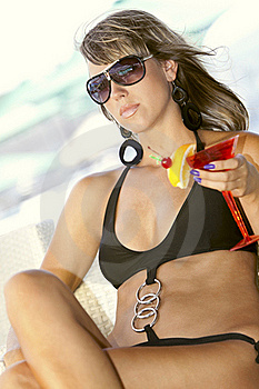 Woman Enjoying With A Glass Of Martini Royalty Free Stock Photography - Image: 18674757