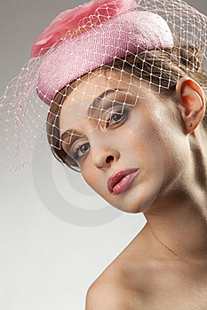 Woman In Pink Bonnet With Voile Royalty Free Stock Images - Image: 18674779