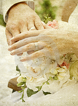 Hands And Rings On Wedding Bouquet Royalty Free Stock Image - Image: 18675776