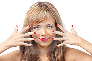 Pretty Young Woman With Red Lipstick And Manicure Royalty Free Stock Photo - Image: 18678465