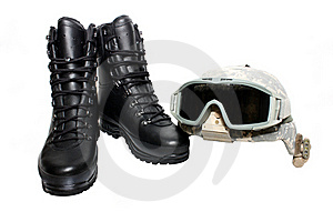 Military Helmet And Boots Stock Photo - Image: 18679030