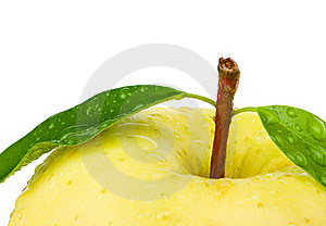 Fresh Yellow Apple With Leaf. Stock Photography - Image: 18680672