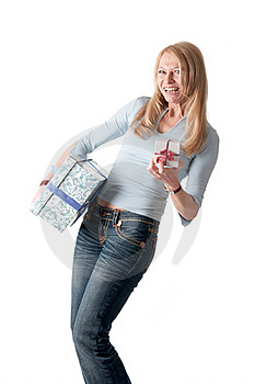 Middle Aged Woman With Two Parcels Royalty Free Stock Images - Image: 18681179