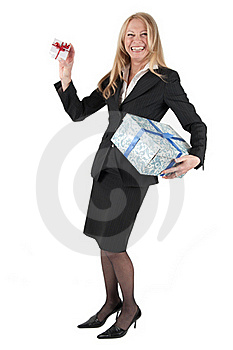 Middle Aged Woman With Two Parcels Royalty Free Stock Photos - Image: 18681258