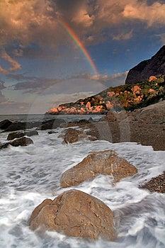Rainbow Over Stormy Sea Royalty Free Stock Photos - Image: 18690818